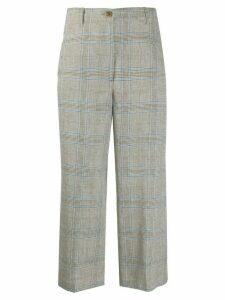 Semicouture check wide leg trousers - NEUTRALS