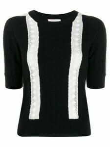 See by Chloé knitted lace-embellished top - Black