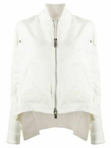 Sacai ribbed sleeve bomber jacket - White