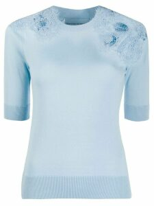 Ermanno Scervino crochet-embellished knitted top - Blue