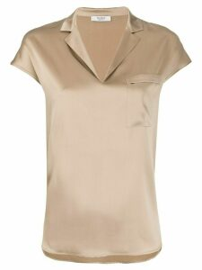 Peserico notched collar loose-fit blouse - GOLD