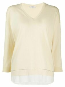 Peserico layered brass-embellished pullover - NEUTRALS