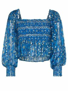 Rixo Eloise graphic print ruched top - Blue