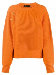 Versace safety pin ribbed jumper - ORANGE