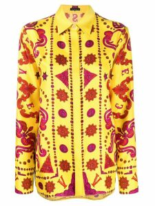 Versace Baroque print silk shirt - Yellow