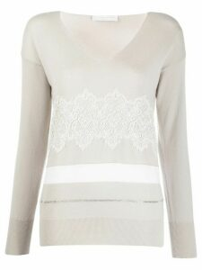 Fabiana Filippi lace embroidered v-neck jumper - Grey