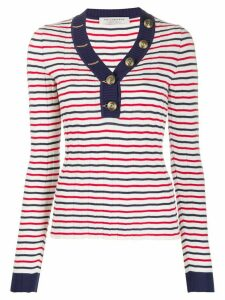 Philosophy Di Lorenzo Serafini striped v-neck knitted top - White