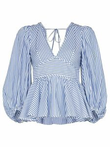 Staud V-neck striped cotton blouse - Blue