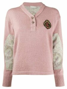 Etro paisley-panel knit jumper - PINK