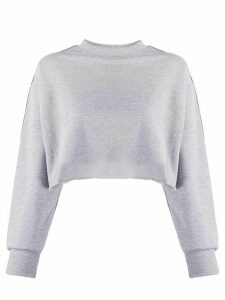 Chiara Ferragni logo-tape cropped sweatshirt - Grey
