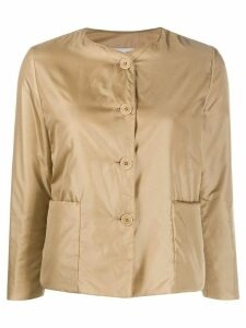 Aspesi collarless padded sateen jacket - Brown