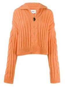 Nanushka half-zip cable knit jumper - ORANGE