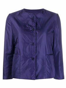 Aspesi collarless padded sateen jacket - Blue