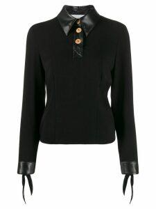 Nanushka Agnes faux leather-trimmed georgette top - Black