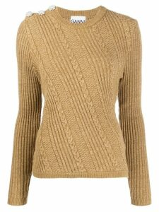 GANNI cable knit jumper - NEUTRALS