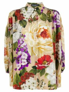 Dolce & Gabbana silk loose fit floral shirt - NEUTRALS