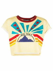 Dolce & Gabbana Holiday print cropped T-shirt - Yellow
