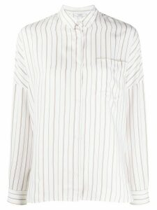 Peserico striped long-sleeved blouse - White