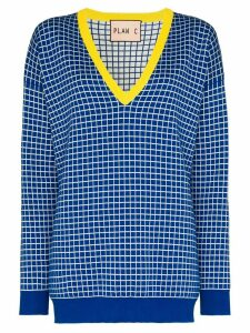 Plan C V-neck checked jumper - Blue