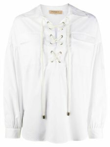 Twin-Set lace-up loose-fit blouse - White