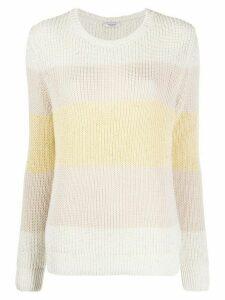 Peserico round neck block stripe sweater - NEUTRALS