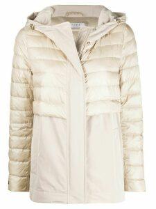 Peserico contrast panel hooded jacket - NEUTRALS
