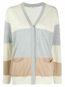 Peserico colour block fine knit cardigan - Grey