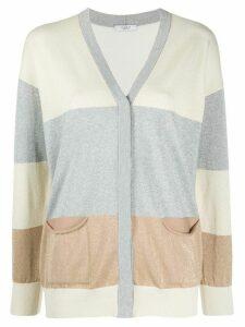Peserico colour block fine knit cardigan - Grey