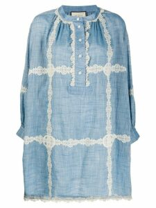Gucci lace detail shift dress - Blue