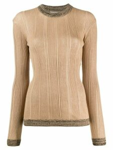 GANNI ribbed contrast top - NEUTRALS