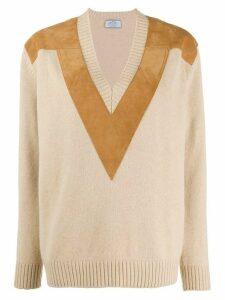 Prada contrasting details v-neck jumper - NEUTRALS