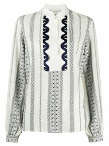 Zeus+Dione buttoned mandarin collar top - White