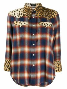 R13 mixed print western shirt - Blue