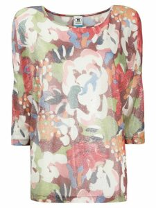 M Missoni cropped sleeve floral print top - Red