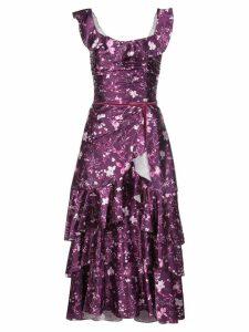 Marchesa Notte floral ruffled long dress - PURPLE