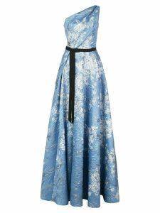 Marchesa Notte printed one-shoulder dress - Blue