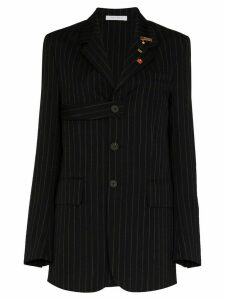 Delada single-breasted chalk-striped wool blazer - Black