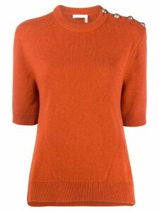 Chloé cashmere buttoned shoulders top - ORANGE