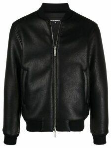 Dsquared2 logo leather jacket - Black