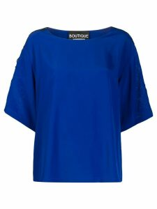Boutique Moschino embroidered shoulder detail blouse - Blue