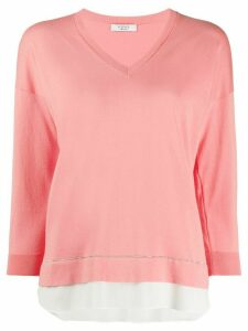 Peserico V-neck cropped sleeve jumper - PINK