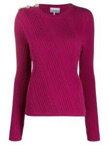 GANNI cable knit jumper - PINK