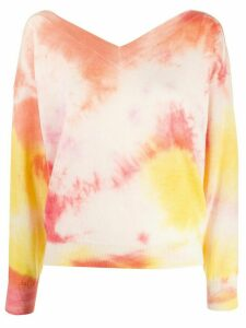 MSGM tie dye v-neck jumper - ORANGE