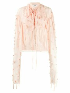 LANVIN draped sleeves rose embellished blouse - PINK