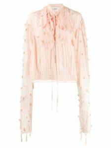 LANVIN draped sleeves rose embellished blouse - PINK