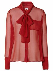 Burberry monogram sheer pussybow blouse - Red