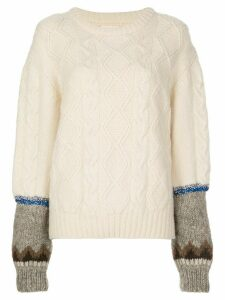 Rentrayage Isle of Sky contrast cuff jumper - White