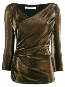 Roberto Cavalli wrap v-neck blouse - GOLD