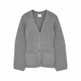 Khaite Lucy Grey Stretch-cashmere Cardigan