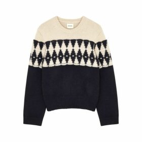 Khaite Romme Off-white And Navy Jumper